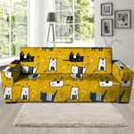 Yellow Doodle Cat Background Sofa Cover