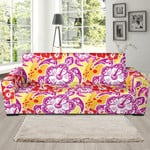 Hawaiian Sea Turtle Red Hibiscus Theme Sofa Cover