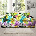 Colorful Mix Fruit Pineapple Hawaiian Pattern Print Sofa Cover