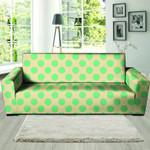 Cream And Teal Polka Dot Pattern Sofa Cover