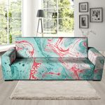Mixed Red And Turquoise Marble Pattern Sofa Cover