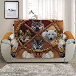 Cute Four Wolves Sofa Couch Protector Cover