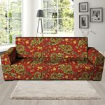 Golden Chinese Dragon Floral Pattern Print Sofa Cover