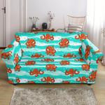Octopus Cartoon Cute Blue Pattern Sofa Cover