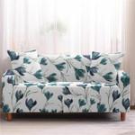 Dark Green Flower Branch Bright Theme Sofa Cover