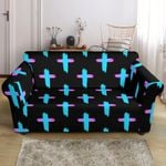 Christian Cross Neon Black Pattern Sofa Cover