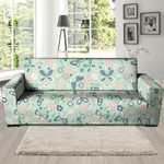 Cute Floral Mint Butterfly Print Sofa Cover