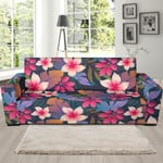 Hawaiian Floral Tropical Flower Hibiscus Background Sofa Cover