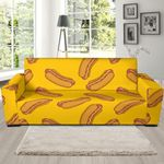 Yellow Hot Dog Pattern Background Sofa Cover