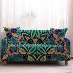 Bohemian Mandala Charming Design Dark Green Theme Sofa Cover