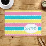 Lemon Pink Aqua Custom Name Printed Placemat Table Mat