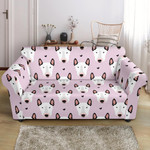 Pleasant Bull Terrier Faces Pink Theme Sofa Cover
