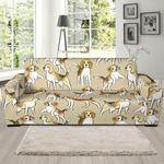 Brown Beagle Paw Pattern Background Sofa Cover