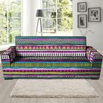 Colorful Indian Aztec Doodle Triangles Pattern Sofa Cover