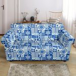 Blue Swedish Print Pattern Sofa Cover