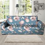 Blue Vintage Floral Pattern Print Sofa Cover