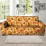 Red Polka Dot Sunflower Overlap Theme Sofa Cover