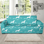 Turquoise Great Dane Theme Sofa Cover