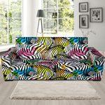 Colorful Neon Zebra Pattern Theme Sofa Cover