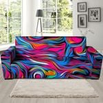 Multicolor Abstract Trippy Paint Pattern Print Sofa Cover
