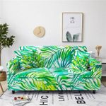 Mixed Green Color Leave Pattern White Theme Sofa Cover