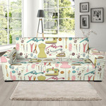 Sewing On White Theme Sofa Cover