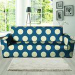 Blue Leather And Cream Polka Dot Sofa Cover