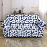 Multi Blue Hibiscus Flower Tropical Pattern Sofa Cover