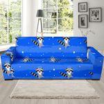 Blue Pattern Raccoon Theme Sofa Cover