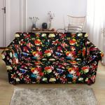 Vibrant Skull Covered By Roses Flower Design Black Theme Sofa Cover