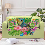 Colorful Baby Toucan With Lovely Flower Green Theme Sofa Cover