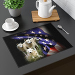 United State Flag We Stand Dogs Printed Placemat Table Mat