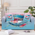 Queen Of Whales Beautiful Flower Pattern Sofa Cover