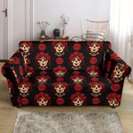 Day Of The Dead Skull Girl Pattern Black Background Sofa Cover