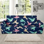 Hummingbird Colorful Background Sofa Cover