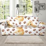 Labrador Paws White Background Pattern Sofa Cover