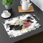 Dream Spirit Wolves Black And White Printed Placemat Table Mat
