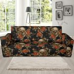Skeleton Sugar Skull With Floral Rose Pattern Theme Sofa Cover