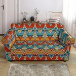 Kente African Orange Blue Yellow Pattern Sofa Cover