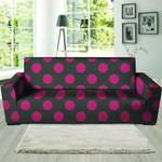 Black And Maroon Polka Dot Print Sofa Cover