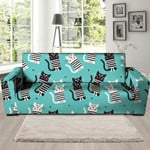 Love Turquoise Leather And Cat Cartoon Print Sofa Cover