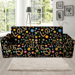 Black Leather And Hippie Love Floral Sofa Cover