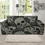 Sugar Skull Skeleton Girly Paisley Pattern Theme Sofa Cover