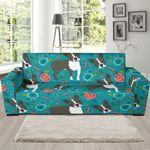 Flower Boston Terrier Pattern Background Sofa Cover