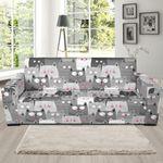 Grey Multi Kitten Cat Funny Pattern Sofa Cover