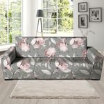 Grey Leather And Vintage Floral Print Sofa Cover