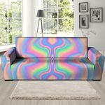Neon Color Holographic Trippy Print Sofa Cover