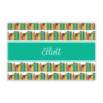 Custom Name Printed Placemat Table Mat Colorful Novel On Bookcase