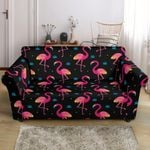 Pink Neon Flamingo Pattern Black Background Sofa Cover