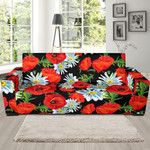 Floral Red Poppy Pattern Background Sofa Cover